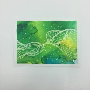 Set of four hand painted and crafted greeting card